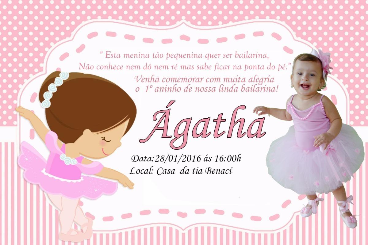30 Convites Bailarina Rosa 7x10 Personalizado Festas R 1905 Em