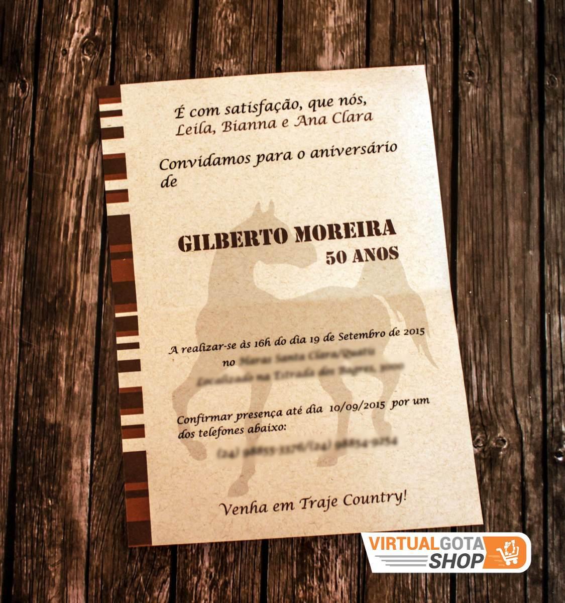30 Convites De Aniversário Madeira Rodeio Cavalo Fazendinha R 59