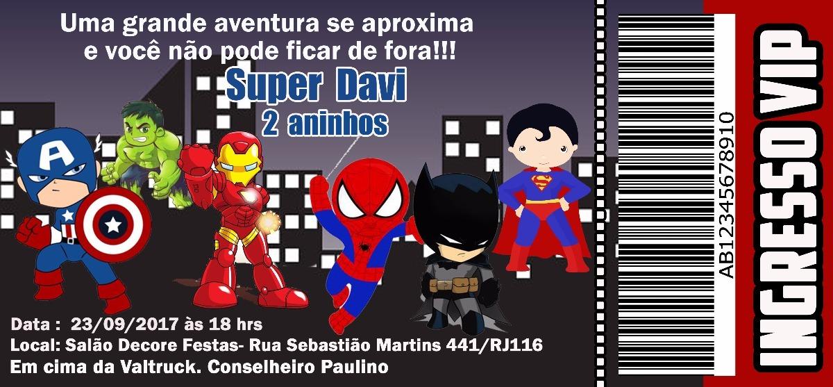 30 Convites Super Heróis Com O Preço De 060 Por Unidade R 2286