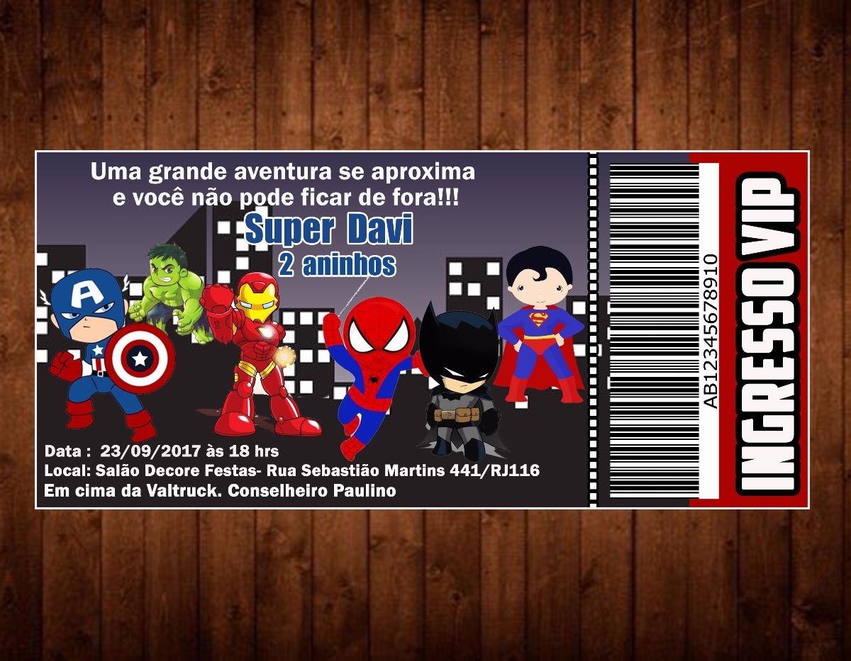 30 Convites Super Heróis Infantil Personalizado R 2286 Em