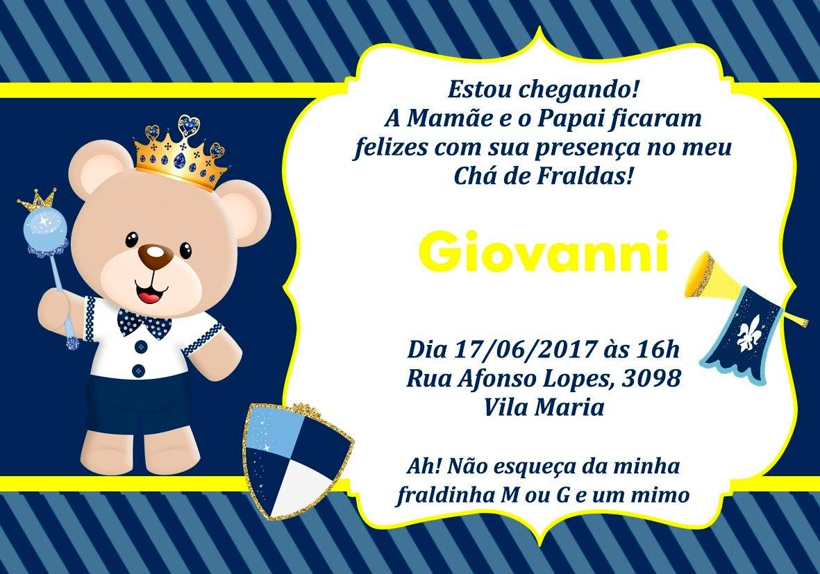 30 Convites Ursinho Príncipe Azul Chá Fraldas 10x7cm R 1500 Em