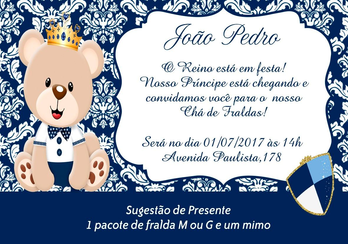 Tag Convite Cha De Bebe Urso Principe Azul Marinho