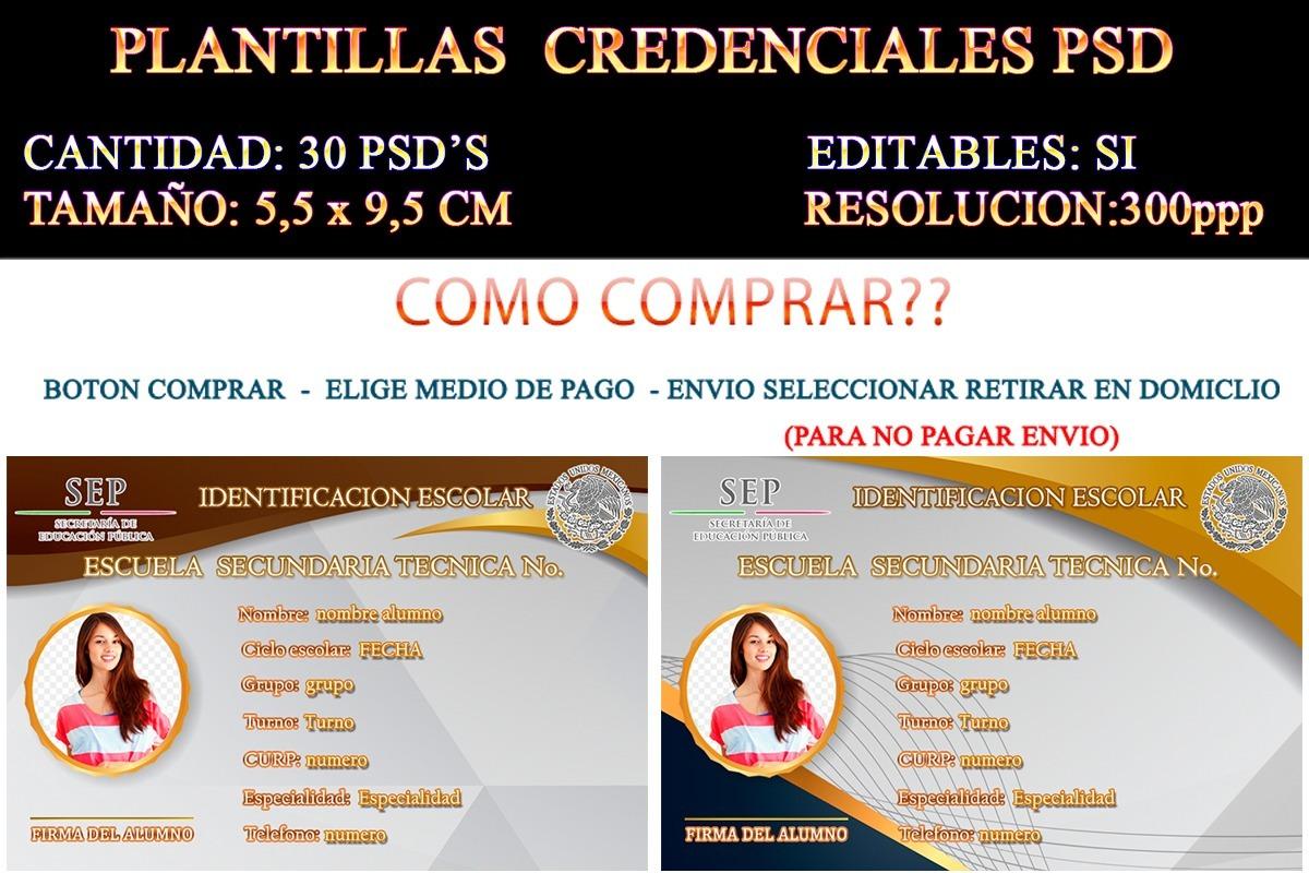 30 Credenciales Psd Secundaria Preparatoria Editables Pvc - $ 100.00 ...
