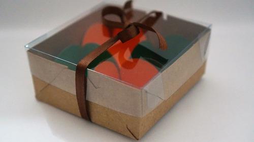 30 embalagens kraft p/4 doces - brigadeiro  (8,5x8,5x3,5)