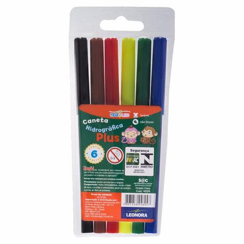 30 estojos de canetinha hidrocor 6 cores - lavável plus