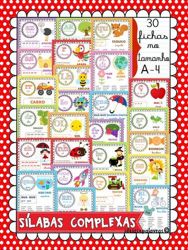 30 fichas de leitura silabas complexas | alfabetização