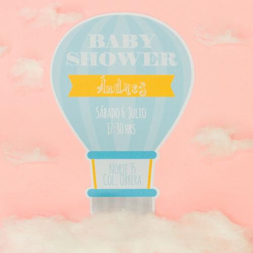 30 invitaciones baby shower forma de globo económicas
