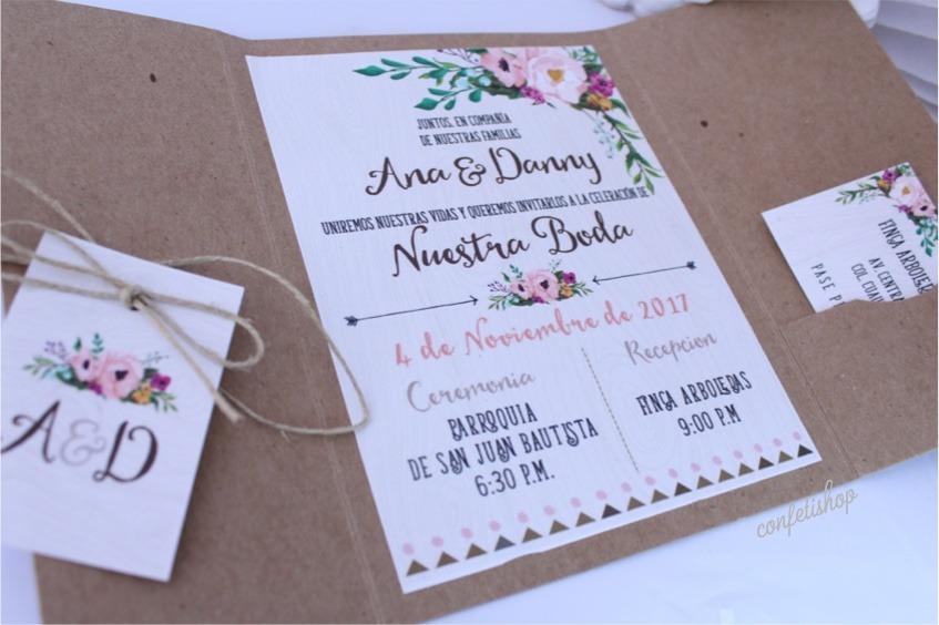 30 Invitaciones Boda Xv Bautizo Vintage Bohemia Rustica Flor