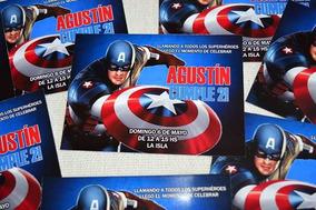 30 Invitaciones Capitan America