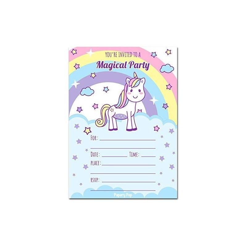 30 Invitaciones De Cumpleaños De Unicornio Con Sobres Invi