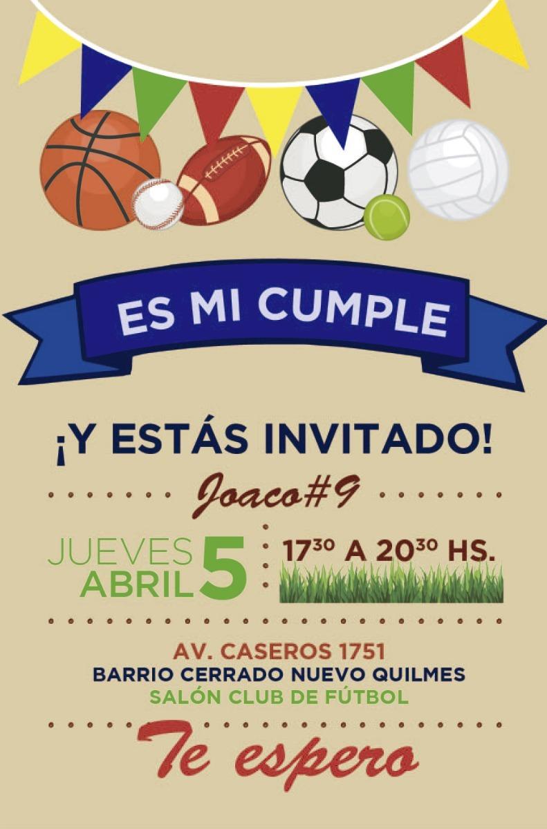 30 Invitaciones Futbol Deporte P Cumpleaños