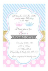 30 Invitaciones Gemelos Princesa Príncipe Baby Shower Rosa