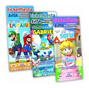 Fiesta Infantil Mario Bross Invitaciones Y Tarjetas De