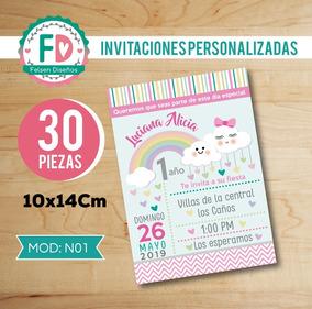 30 Invitaciones Lluvia De Amor Nubes Impresas Cumpleaños