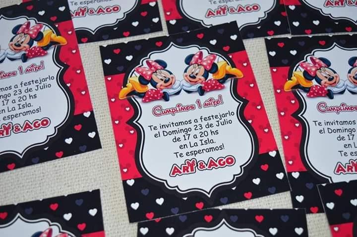 30 Invitaciones Minnie Roja