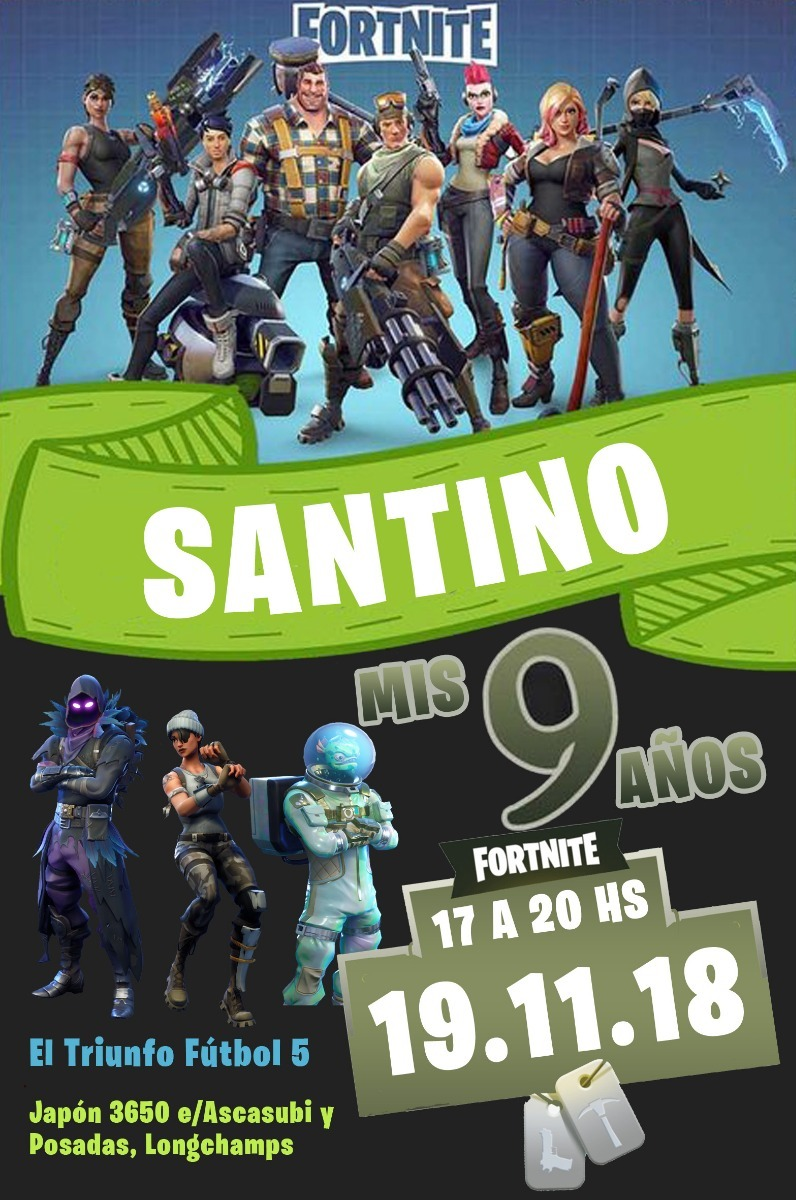 30 Invitaciones Para Cumpleaños Fortnite Personalizada 10x14
