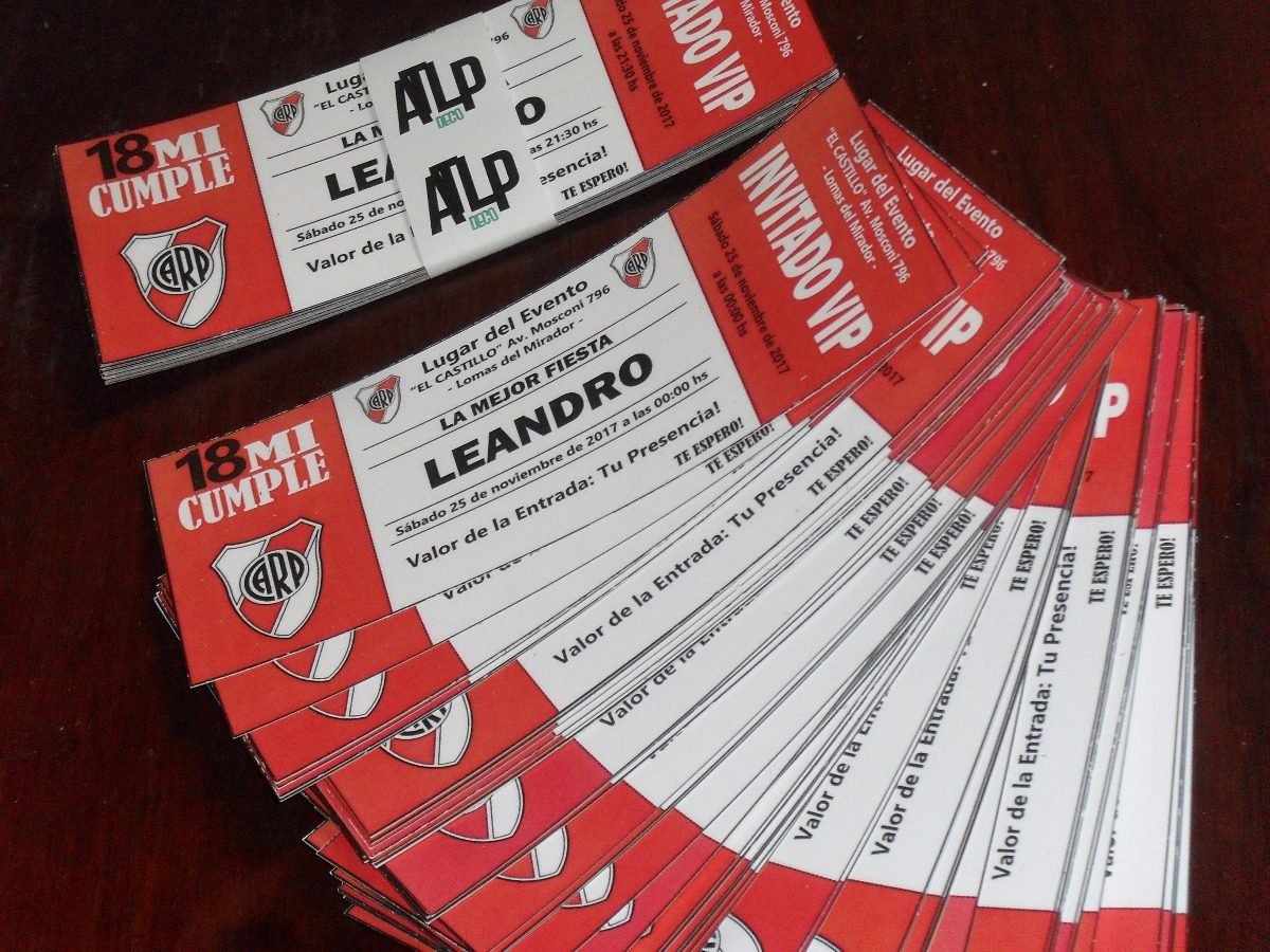 30 Invitaciones Tarjeta Cumpleaños Entrada River Boca Racing