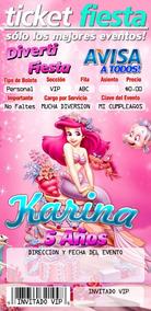 30 Invitaciones Tipo Ticketmaster Ariel La Sirenita