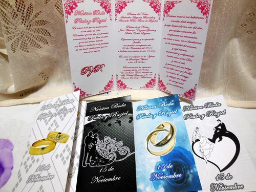 30 invitaciones triptico boleto boda 15 años solo $6 pieza