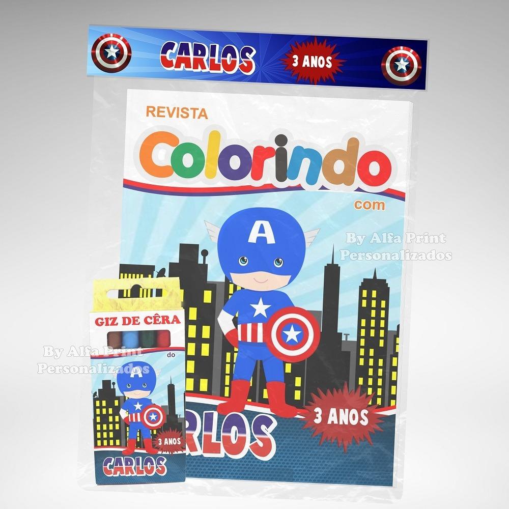30 Kit Colorir Capitao America Baby Cute Revista Lembranca R