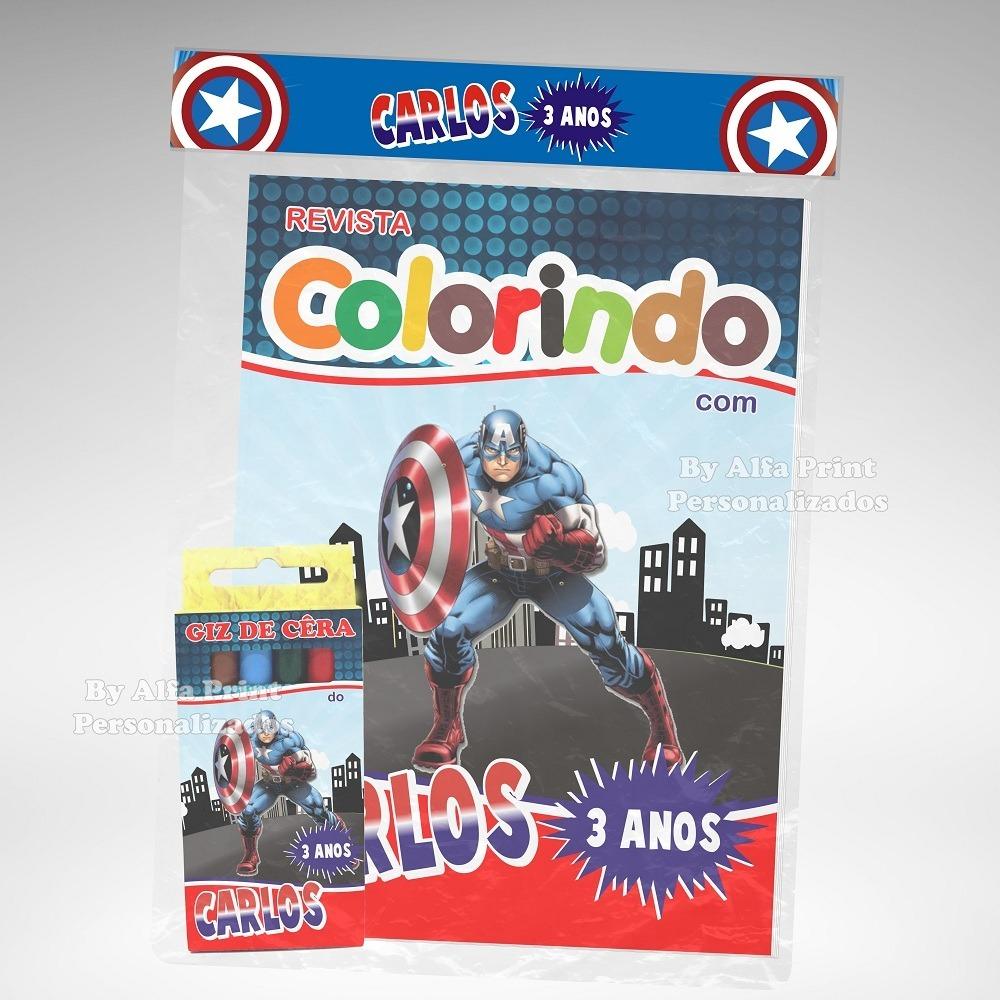 30 Kit Colorir Capitao America Revista Giz Lembranca R 157 80