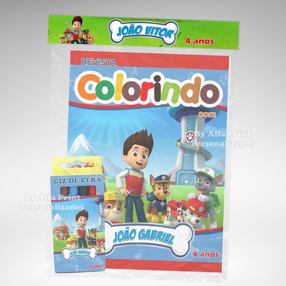 30 Kit Colorir Patrulha Canina Revista Giz Lembranca R 157 80