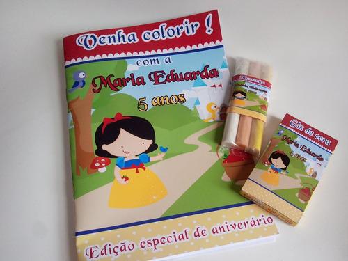 30 kit colorir  revista giz 3 massinhas personalizadas