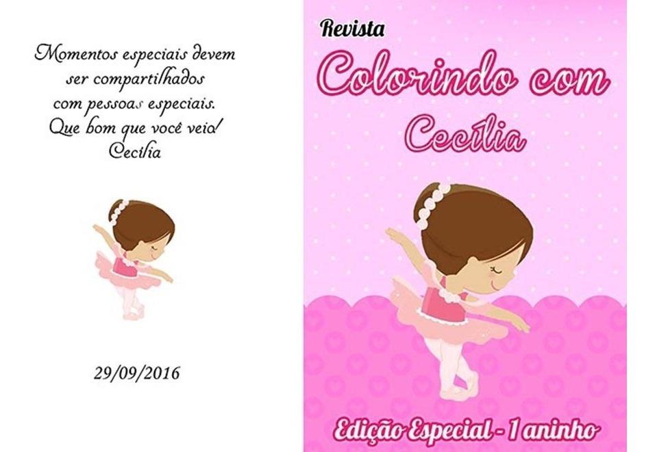 30 Kit De Colorir Bailarina Revista E Giz Personalizados