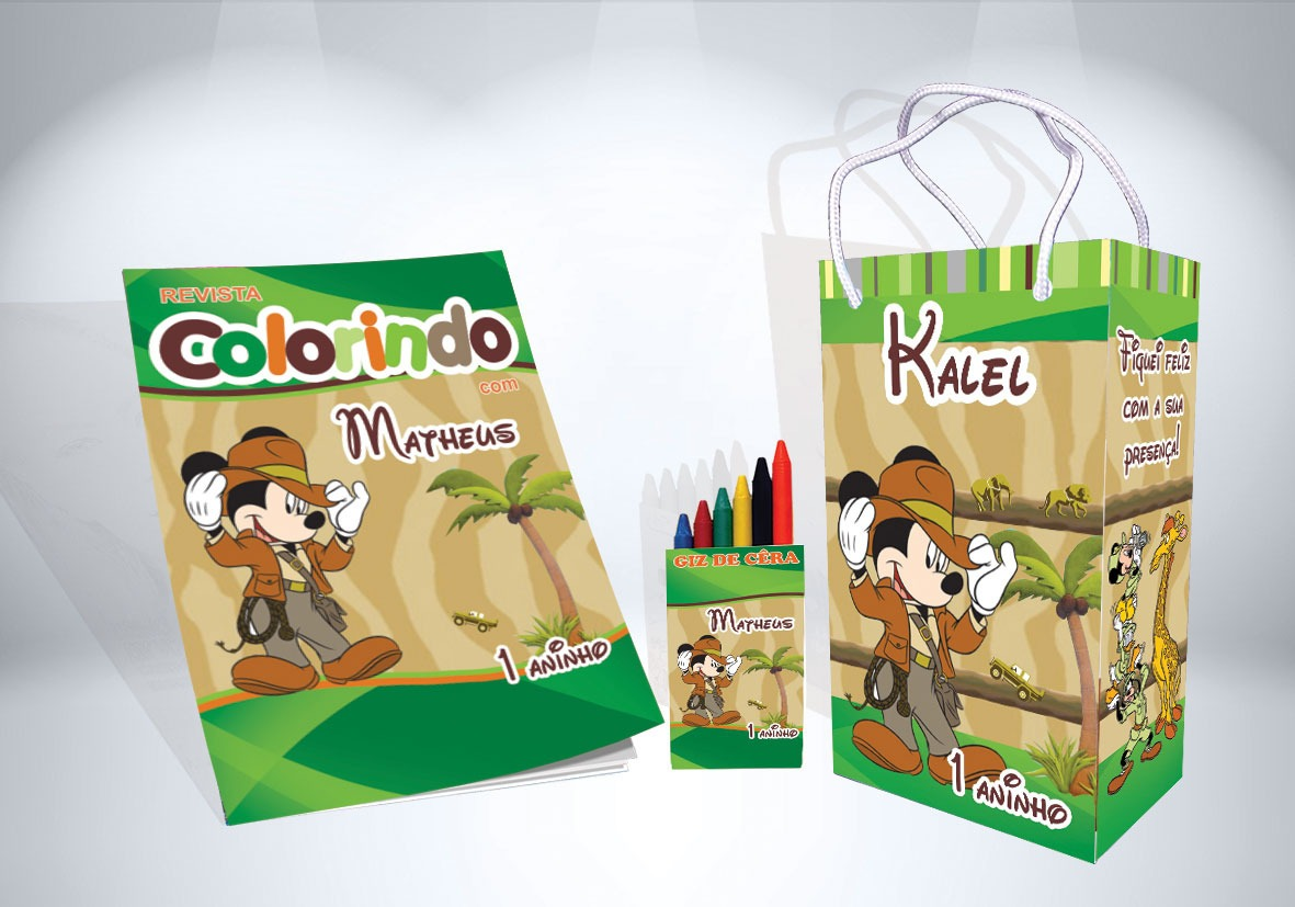 30 Kit De Colorir Mickey Safari Revista Sacola Giz Lembranca R