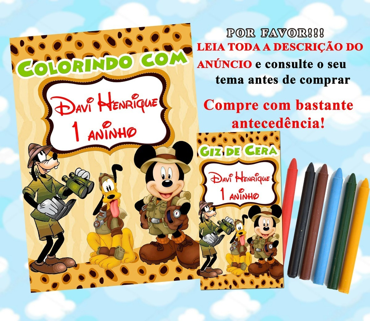 30 Kit Revistinha De Colorir Giz De Cera Mickey Safari R 78