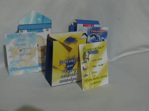 30 kits invitaciones de tarjeta y dulceros, cumple, xv años