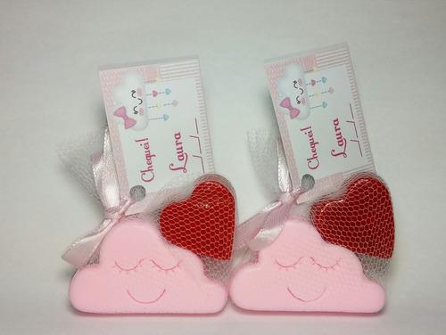 30 kits lembrancinha chuva de amor sabonete nuvem + coração
