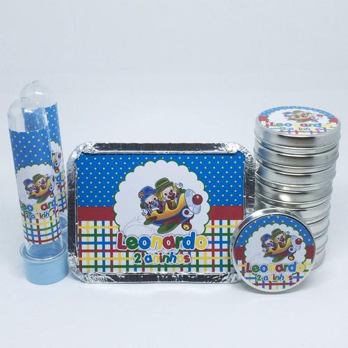 30 latinhas + 30 tubetes + 30 marmitinhas kit personalizados