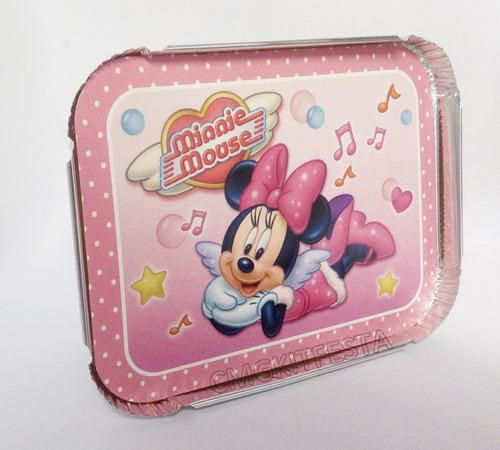 30 marmitas para festa infantil 250g tema minnie rosa
