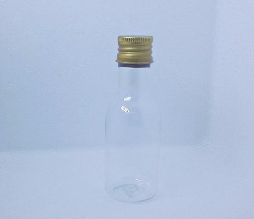 30 mini garrafinhas plástica 50ml tampa metal dourada