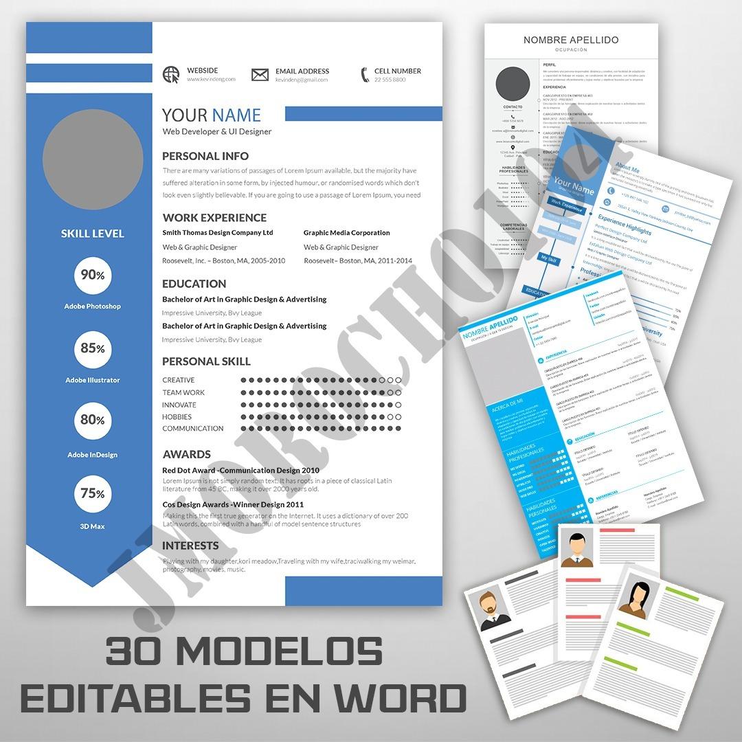 30 Modelos Editables De Curriculum Vitae Cv Profesional 210 00