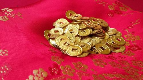 30 monedas chinas. simbolo de riqueza y protección.tam. 2 cm