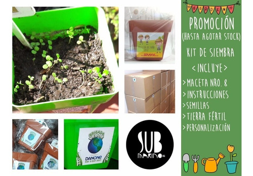 30 original souvenir kit de siembra jardineria maceta nro 8
