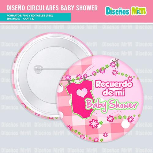 30 plantillas diseños photoshop botones pin babyshower