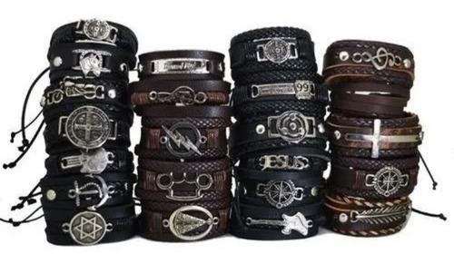 30 pulseira em couro regulável atacado revenda sortidas