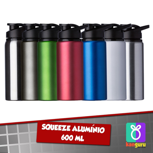 30 squeeze alumínio 600 ml personalizados em duas faces