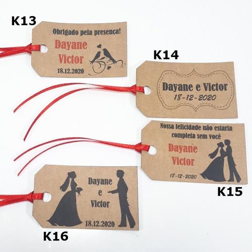 30 tags kraft personalizadas para casamento e lembrancinha