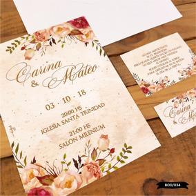 40 Tarjetas Invitaciones Bodas Casamientos 15 Años C Sobre