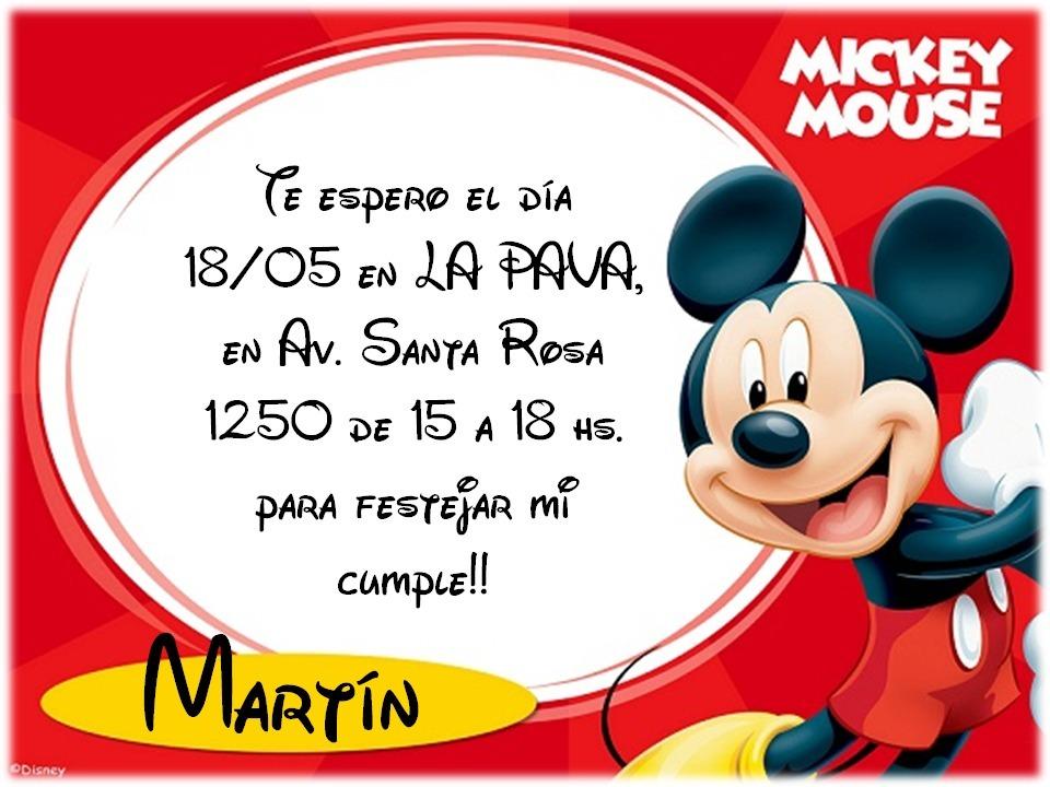 30 Tarjetas Invitaciones Cumpleaños Mickey