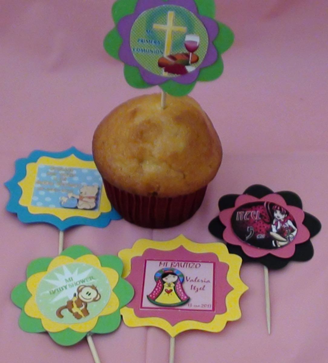 30 toppers decoracion cupcakes candy bar mesa de dulces for Decoracion en cupcakes