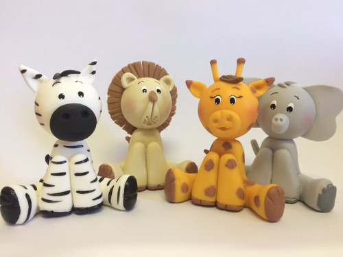 30 unid - lembrancinhas ou apliques biscuit safari