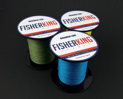 300 metros de linea trenzada para pesca fisherking - 30 lb