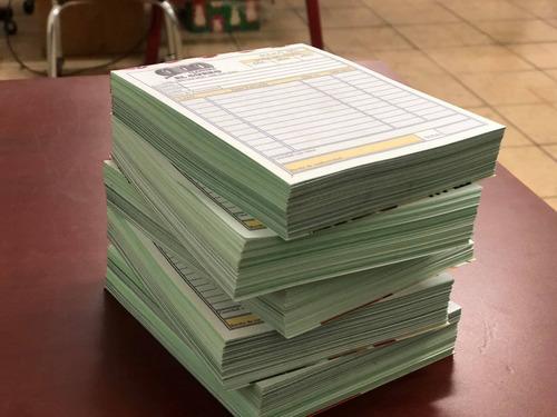 300 notas de venta con copia verde, tamaño media carta