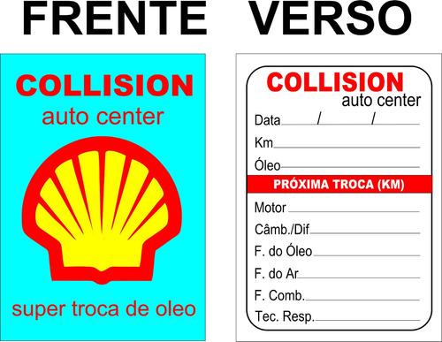 3000 adesivos etiquetas troca de óleo 5 cores