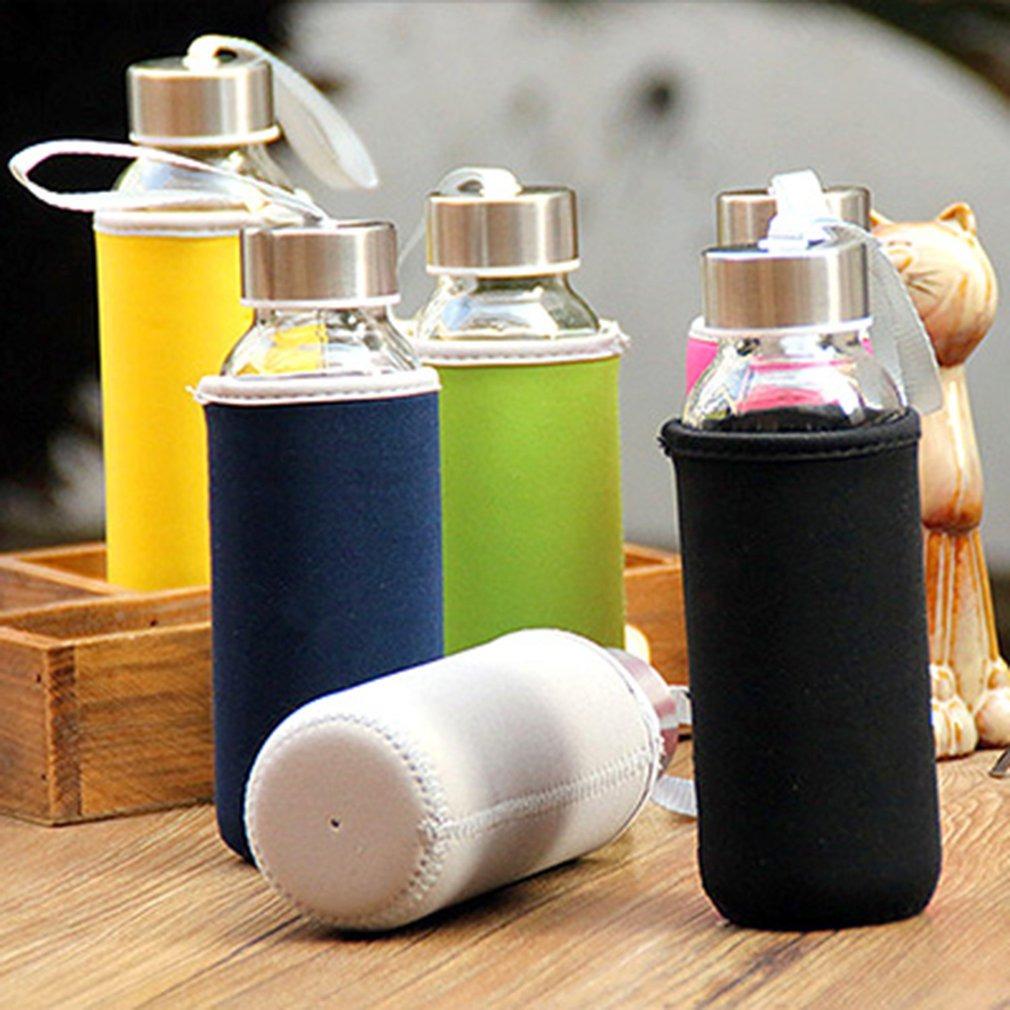 Botella de agua de cristal del borosilicate de la botella de cristal 300ml con la bolsa del pa/ño